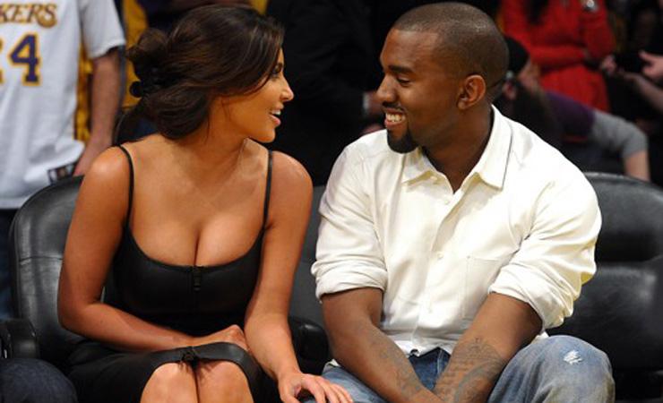 Kim kardashian and kanye west at a lakers game 500x1000