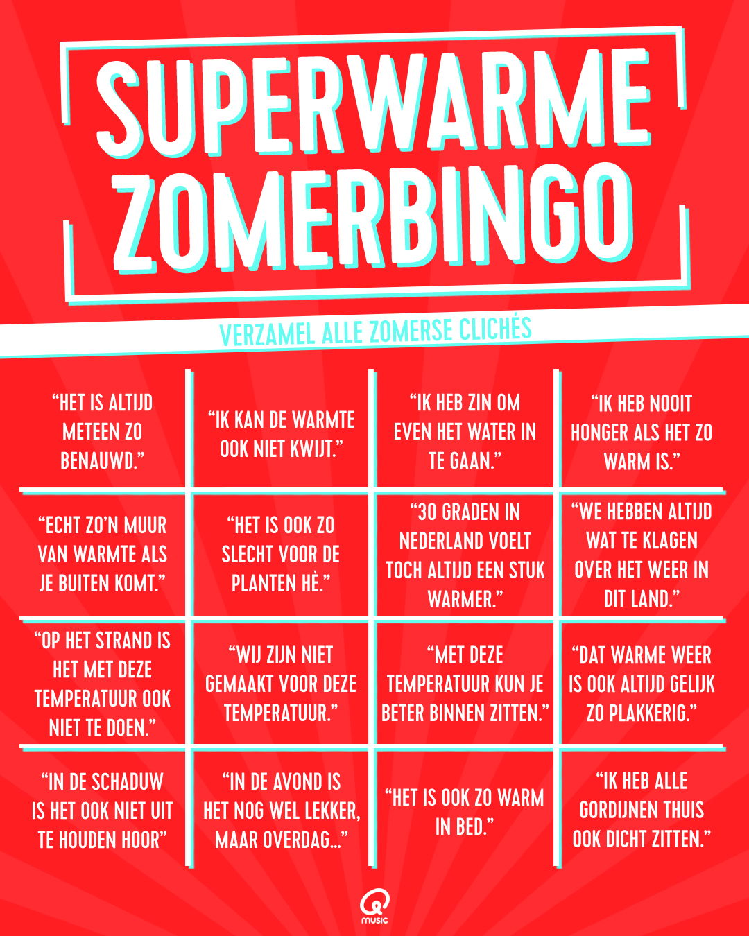 Superwarme zomerbingo