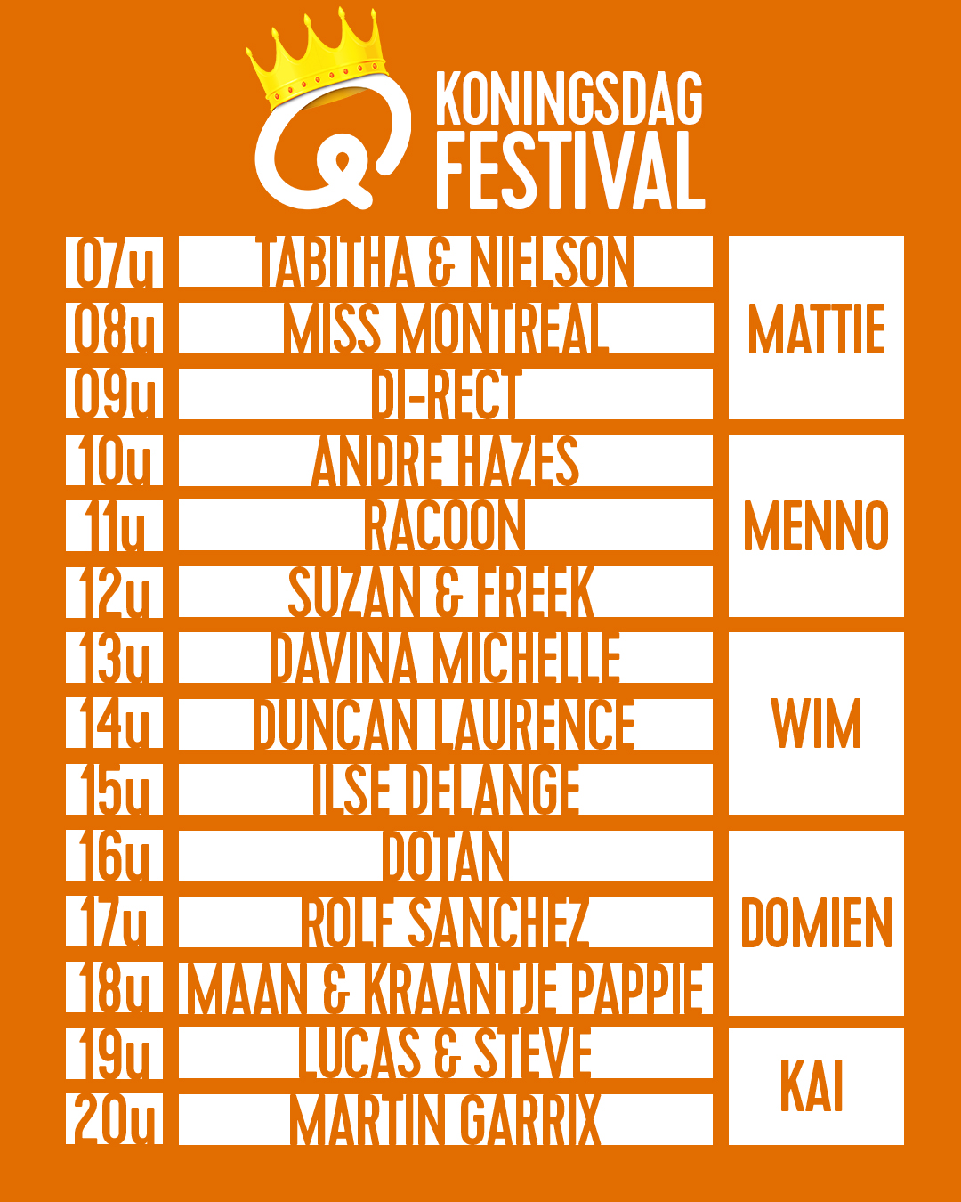 Q-koningsdag line-up 2020