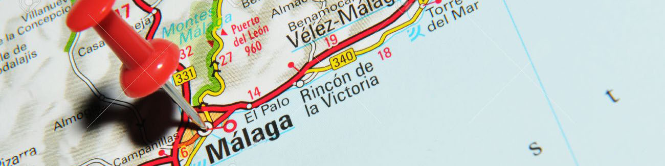 14515003 london uk 13 june 2012 malaga spain marked with red pushpin on europe map stock photo