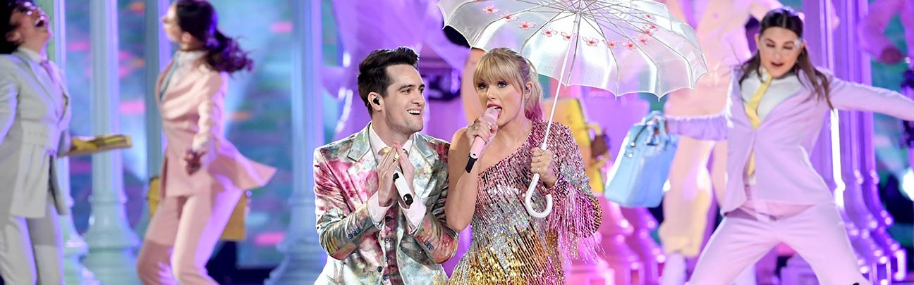 Brendon urie of panic at the disco and taylor swift perform onstage during the 2019 billboard music awards  getty h 2019